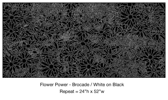 Casart_Brocade White on Black Flower Power_7x