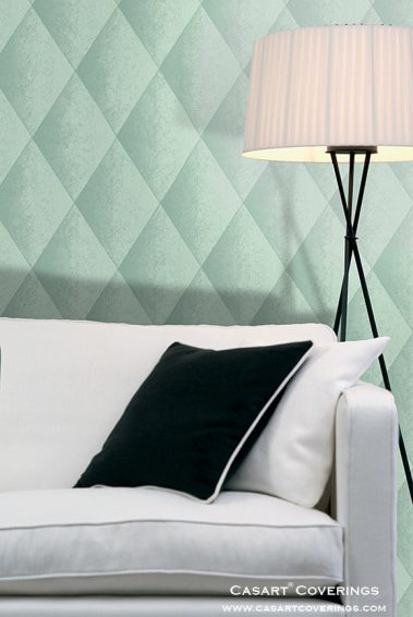 Casart Coverings teal faux padded harlequin removable wallpaper with sofa