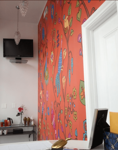 Casart self-adhesive wallpaper Pumpkin Sunset Kristin Nicholas Mural used in Cleanse Chicago waiting room