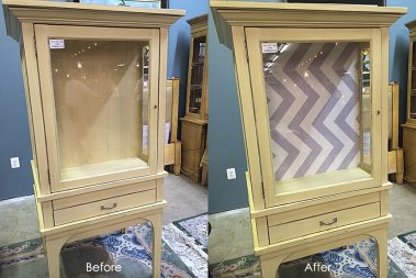 EV Home Cabinet Before-After_Libby Langdon Chevron Casart reusable wallcovering
