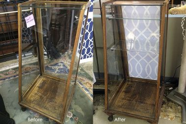 Evolution Home Jewelry Cabinet Before-After Libby Langdon Lively Lattice Casart reusable wallpaper