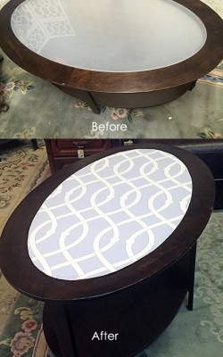 Evolution Home Oval Table Before-After Libby Langdon Lively Lattice Casart reusable wallpaper