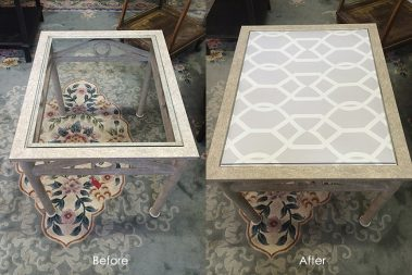 EV Home_Glass Table Before-After Libby Langdon Groovy Gate Casart reusable wallcovering
