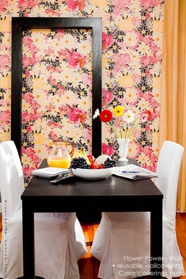 Casart Coverings Flower Power removable wallpaper_Botanicals_ Renters Breakfast Room View