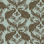 Casart coverings Sage/Cinnamon French Peacock Damask_Patterns_10