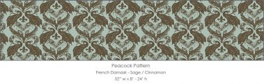 Casart coverings Sage/Cinnamon French Peacock Damask_Patterns_10x