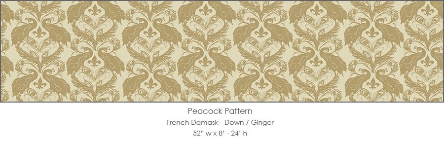 Casart Down/Ginger French Peacock Damask_Patterns_11x