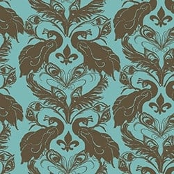 Casart coverings Azure/Cinnamon French Peacock Damask_Patterns_13