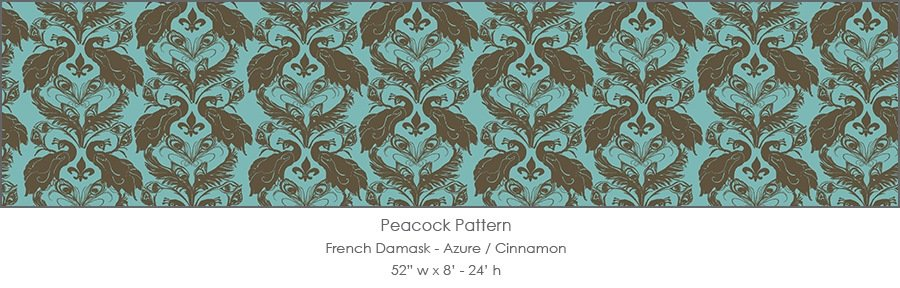 Casart coverings Azure/Cinnamon French Peacock Damask_Patterns_13x