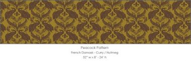 Casart coverings Curry/Nutmeg French Peacock Damask_Patterns_14x