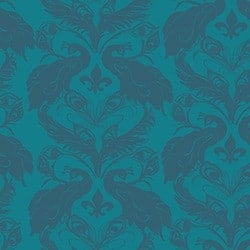 Casart coverings Peacock Blue/Indigo French Peacock Damask_Patterns_15