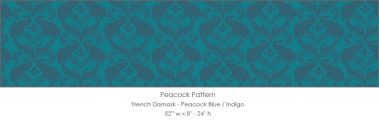 Casart coverings Peacock Blue/Indigo French Peacock Damask_Patterns_15x