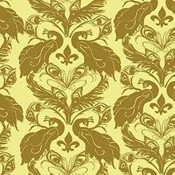 Casart coverings Citron/Curry French Peacock Damask_Patterns_17