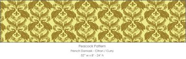 Casart coverings Citron/Curry French Peacock Damask_Patterns_17x
