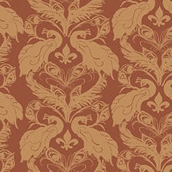 Casart coverings Cinnabar/Saffron French Peacock Damask_Patterns_18