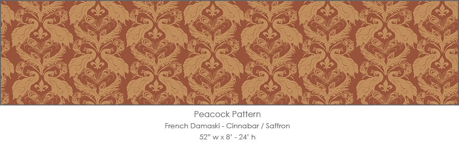 Casart coverings Cinnabar/Saffron French Peacock Damask_Patterns_18x