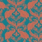 Casart coverings Peacock Blue/Paprika French Peacock Damask_Patterns_19