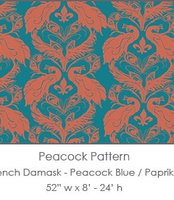 Casart coverings Peacock Blue/Paprika French Peacock Damask_Patterns_19x