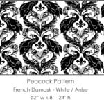 Casart coverings White/Anise French Peacock Damask_Patterns_1x
