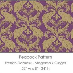 Casart coverings Magenta/Ginger French Peacock Damask_Patterns_20x