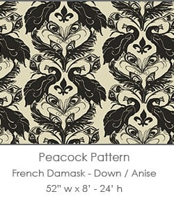 Casart coverings Down/Anise French Peacock Damask_Patterns_2x