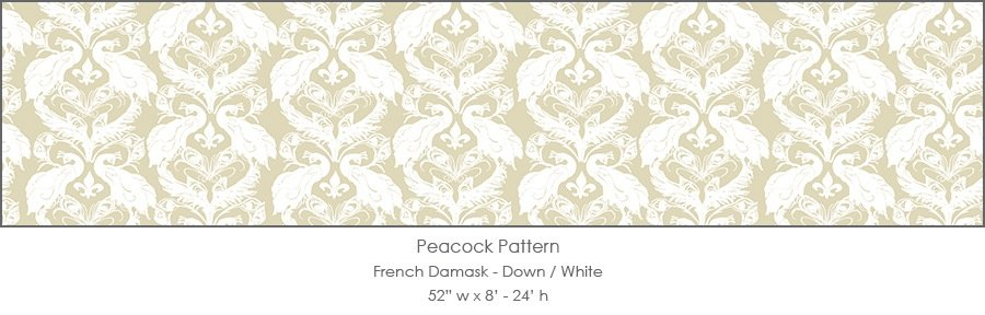Casart coverings Down/White French Peacock Damask_Patterns_3x