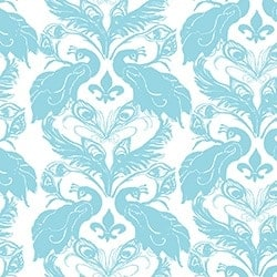 Casart coveringsWhite/Turquoise French Peacock Damask_Patterns_4