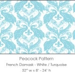 Casart coverings White/Turquoise French Peacock Damask_Patterns_4x