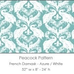 Casart coverings Azure White French Peacock Damask_Patterns_5x