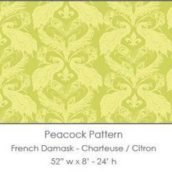 Casart coverings Chartreuse/Citron French Peacock Damask_Patterns_6x
