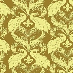 Casart coverings Curry/Citron French Peacock Damask_Patterns_7