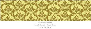 Casart coverings Curry/Citron French Peacock Damask_Patterns_7x