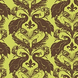 Casart coverings Chartreuse/Cinnamon French Peacock Damask_Patterns_8