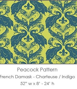Casart coverings Chartreuse/Indigo French Peacock Damask_Patterns_9x