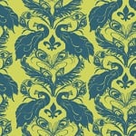 Casart coverings Chartreuse/Indigo French Peacock Damask_Patterns_9