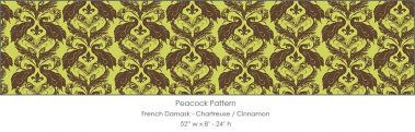 Casart coverigns Chartreuse/Cinnamon French Peacock Damask_Patterns_8x