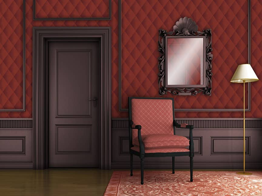 Casart Coverings Red Faux Padded Harlequin self-adhesive wallpaper Formal Room