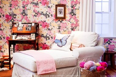 Casart Flower Power removable wallpaper_Botanicals_ Elderly Bedroom View