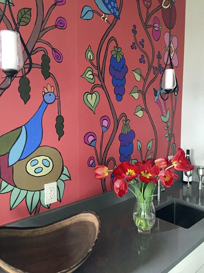 Casart Customer uses Pumpkin Sunset Kristin Nicholas Garden Birds Mural self-adhesive wallpaper