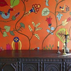 Casart Coverings Kristin Nicholas Pumpkin Sunset Garden Mural Room View 1