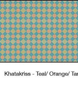 Casart Teal & Orange & Tan Khatakriss_wallcovering_MoRockAnSoul_2x