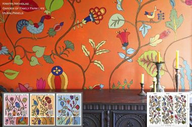 Casart removable wallcoverings_Kristin Nicholas All Garden Family Farm Life Mural Panels ref-rm view