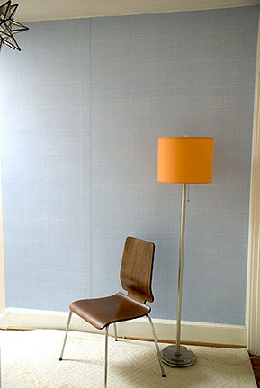 Casart coverings Light Blue Faux Linen Room View