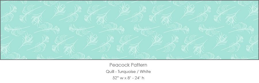 Casart coverings Turquoise/White Quill_Patterns_11x