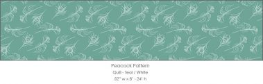 Casart coverings Teal/White Quill_Patterns_12x