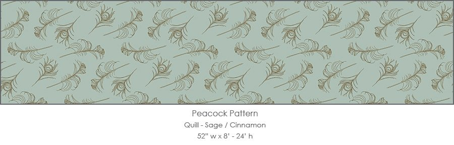 Casart coverings Sage/Cinnamon Quill_Patterns_5x