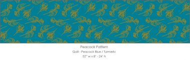 Casart coverings Peacock Blue/Turmeric Quill_Patterns_7x