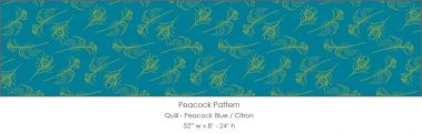 Casart coverings Peacock Blue/Citron Quill_Patterns_8x