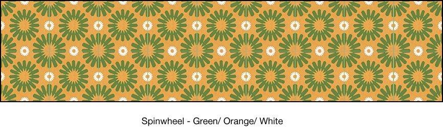 Casart coverings Green & Orange & White Spinwheel_wallcovering_MoRockAnSoul_2x