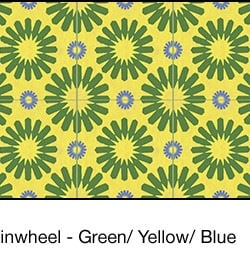 Casart coverings Green & Yellow & Blue Spinwheel_wallcovering_3x